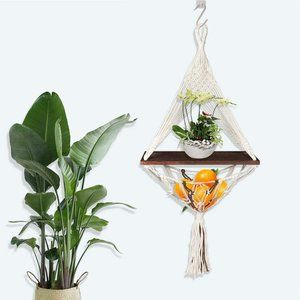 Cotton Rope Wood Hanging Floating Shelf for Wall